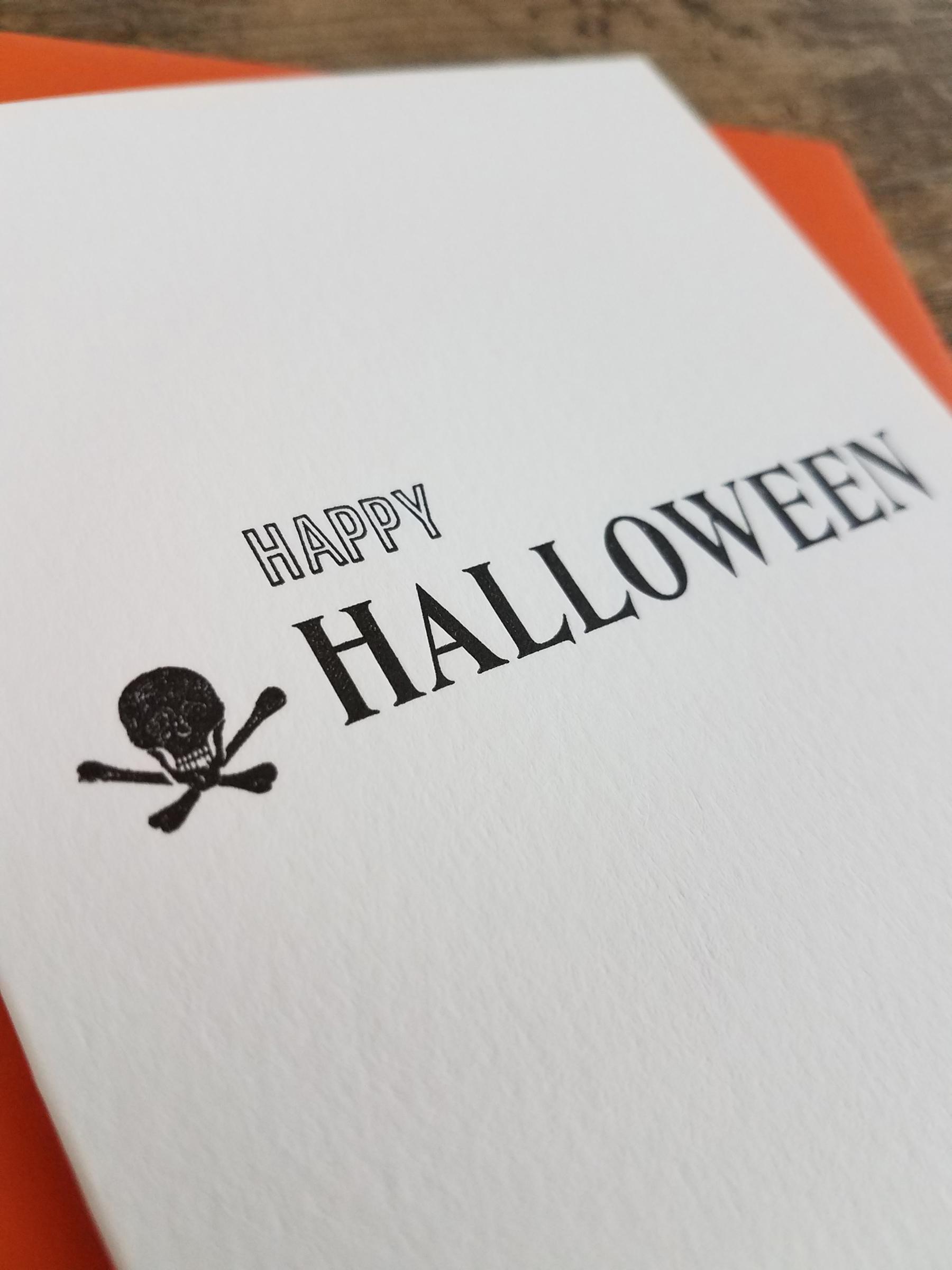 Happy halloween letterpress greeting card iron leaf press home greeting cards holiday happy halloween letterpress greeting card kristyandbryce Images