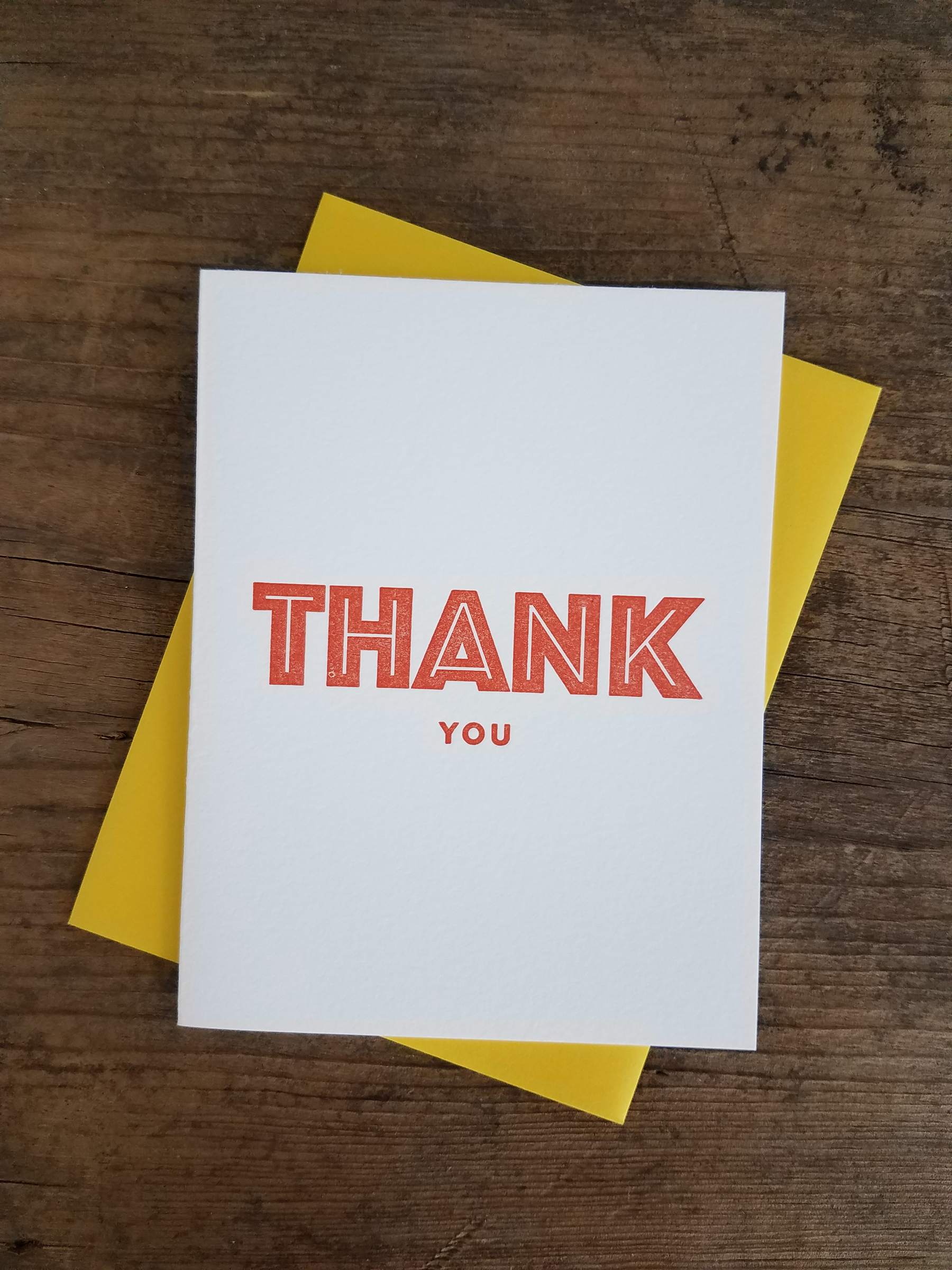 Thank You Bold Type Letterpress Greeting Card Iron Leaf Press