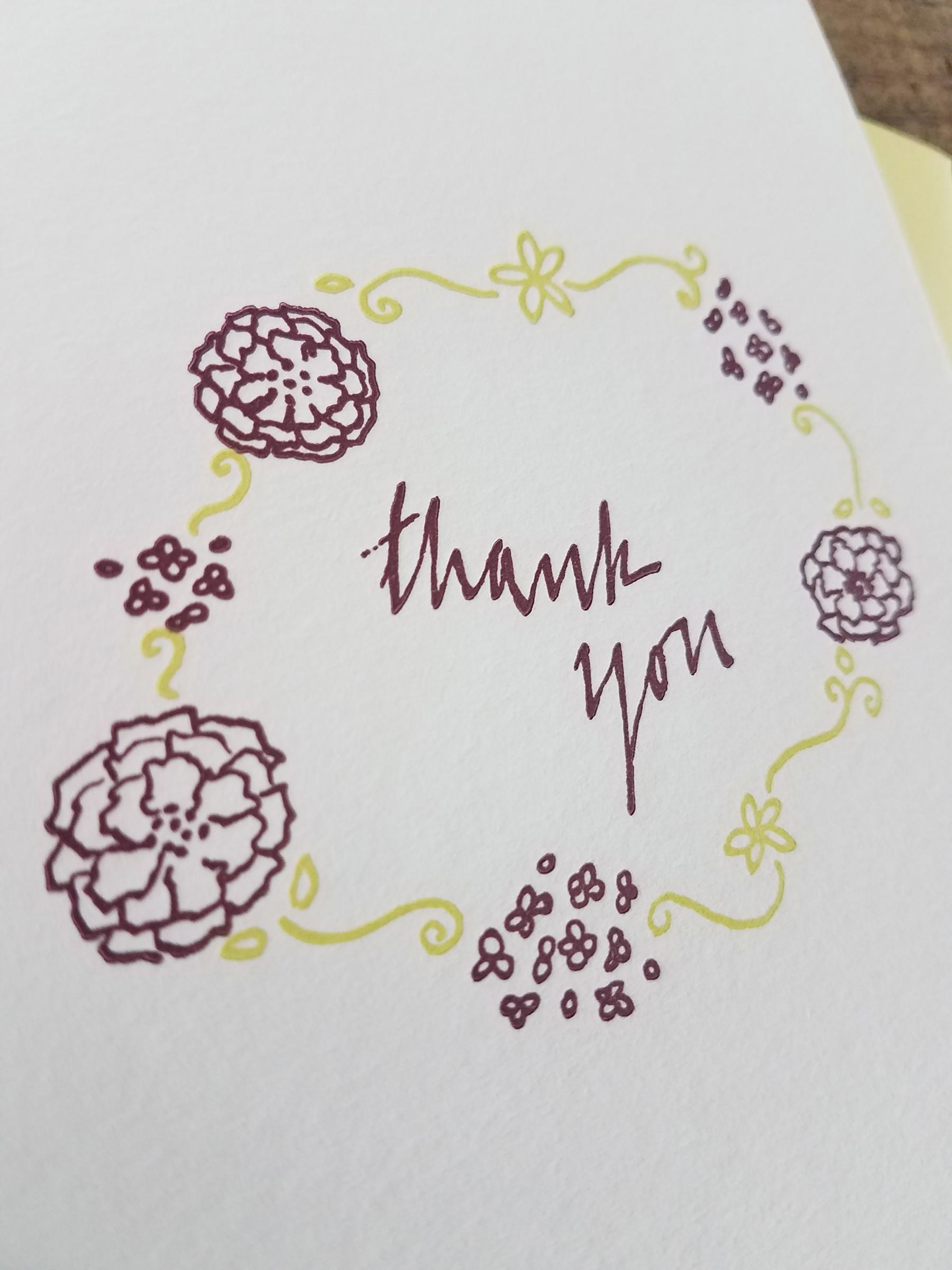 Floral Thank You Letterpress Greeting Card Iron Leaf Press