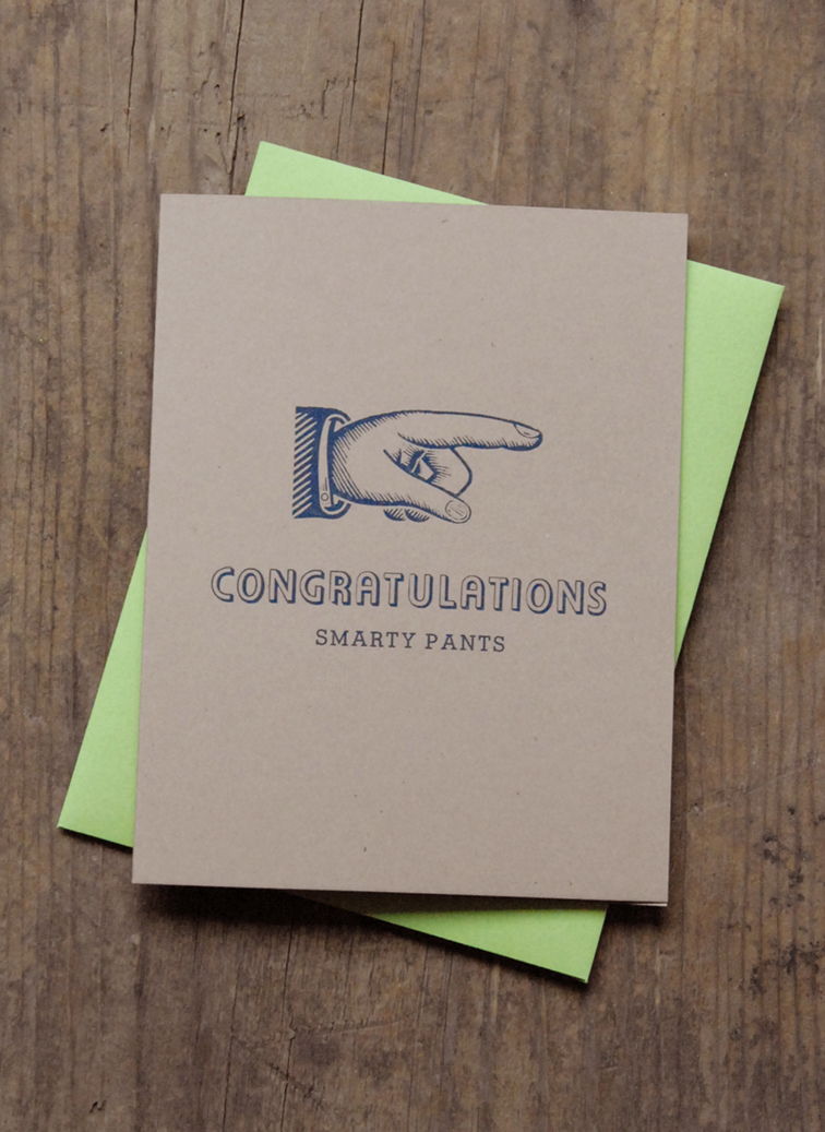 home greeting cards congrats congratulations smarty pants letterpress greeting card - Letterpress Greeting Cards