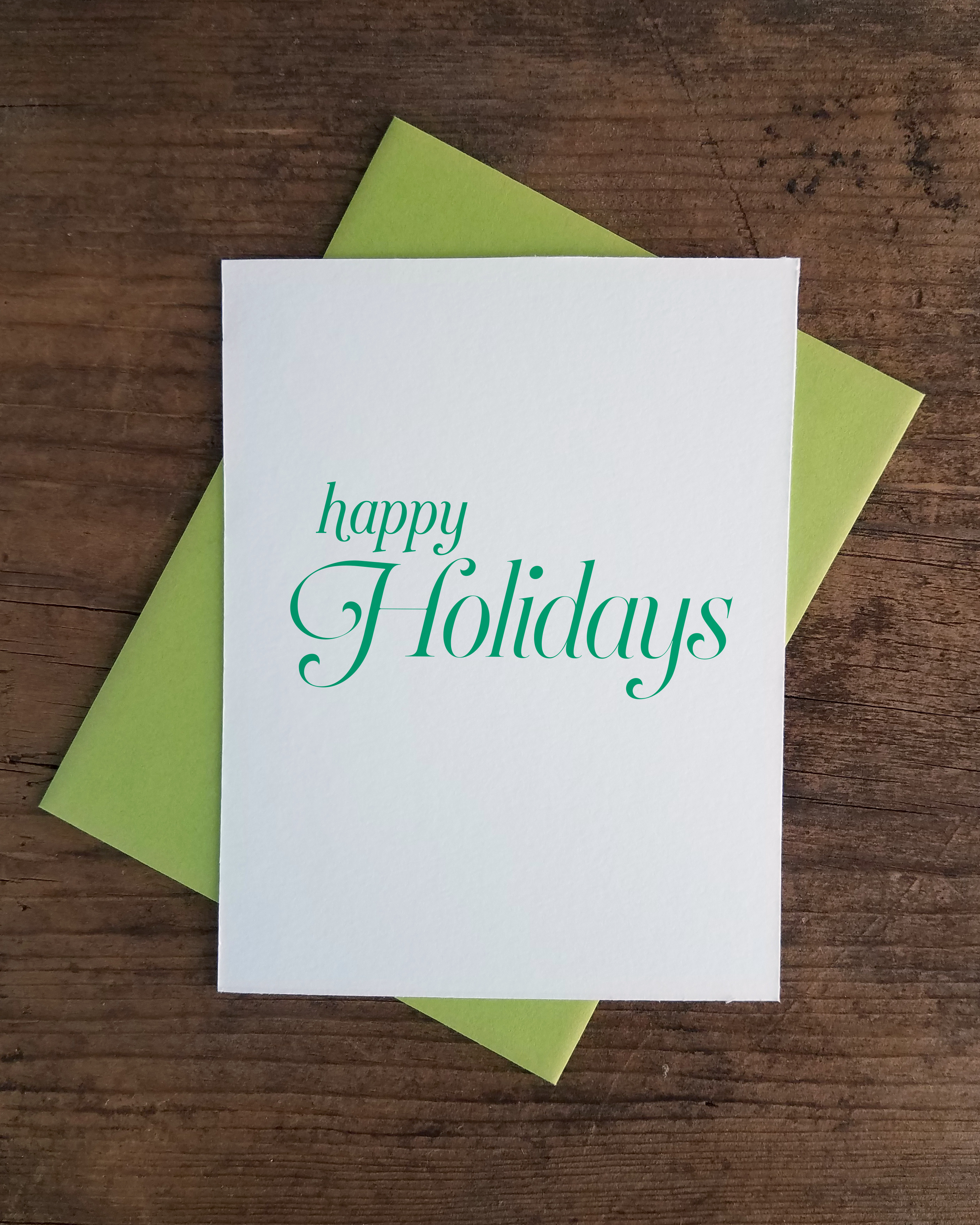 Happy Holidays Letterpress Greeting Card Iron Leaf Press