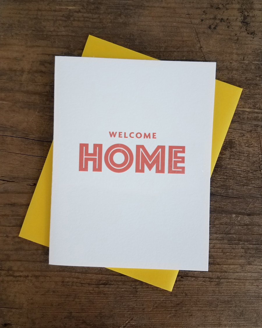 Welcome home letterpress greeting card iron leaf press home greeting cards just because welcome home letterpress greeting card m4hsunfo
