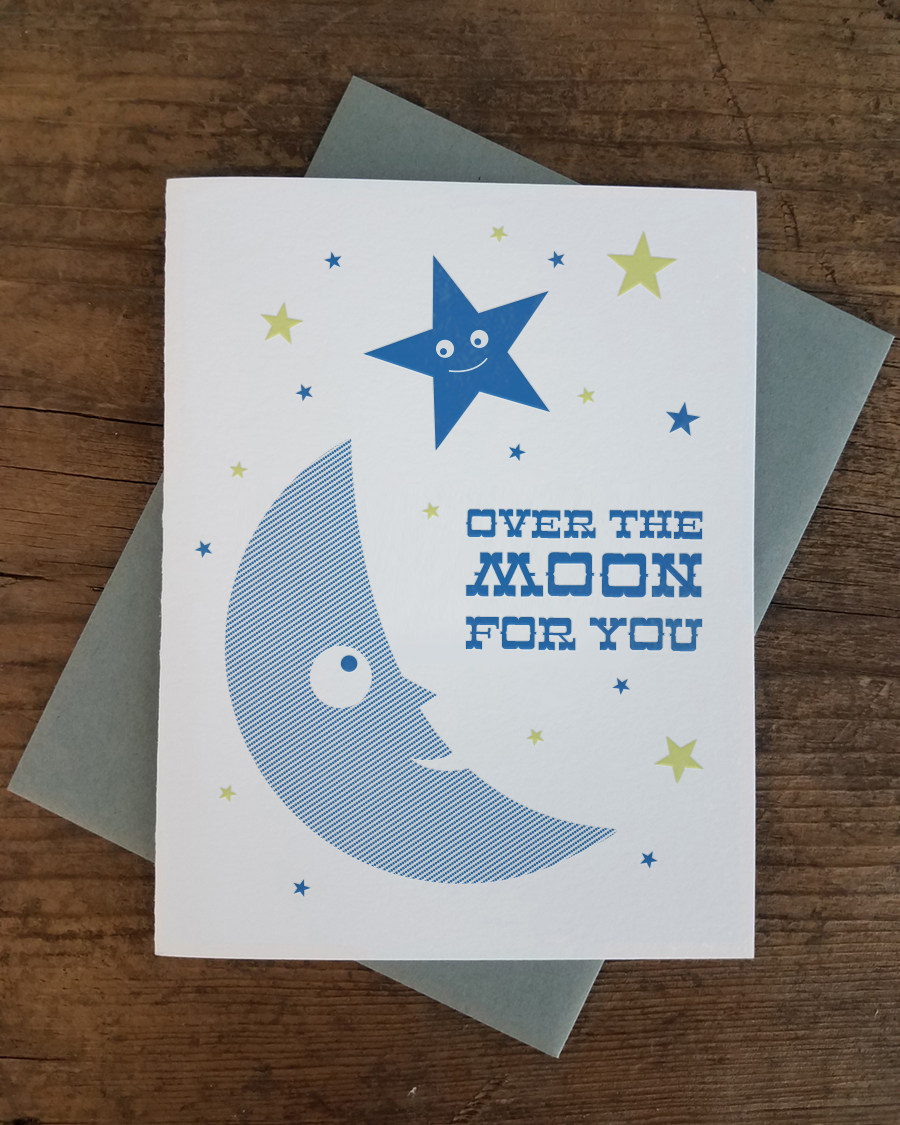 Over the moon for you letterpress greeting card iron leaf press home greeting cards baby over the moon for you letterpress greeting card m4hsunfo