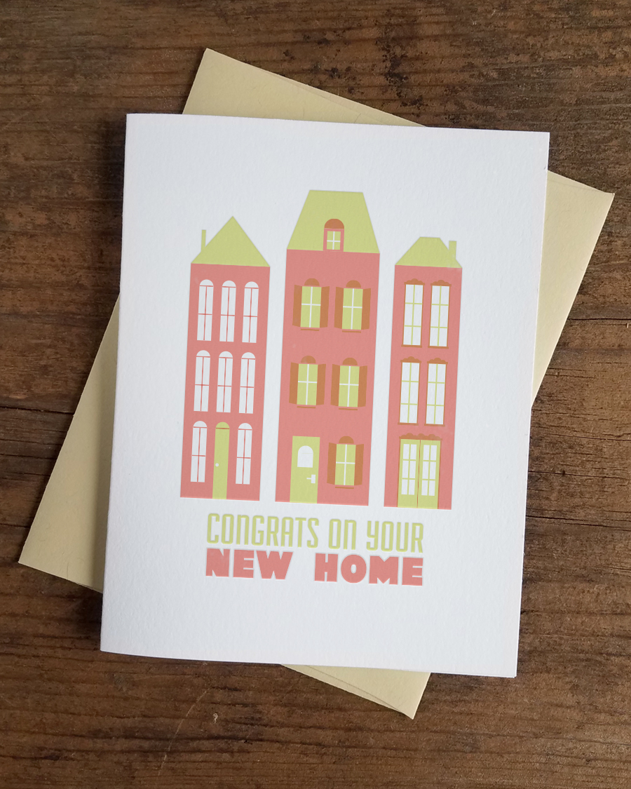 Congrats On Your New Home Letterpress Greeting Card Iron Leaf Press