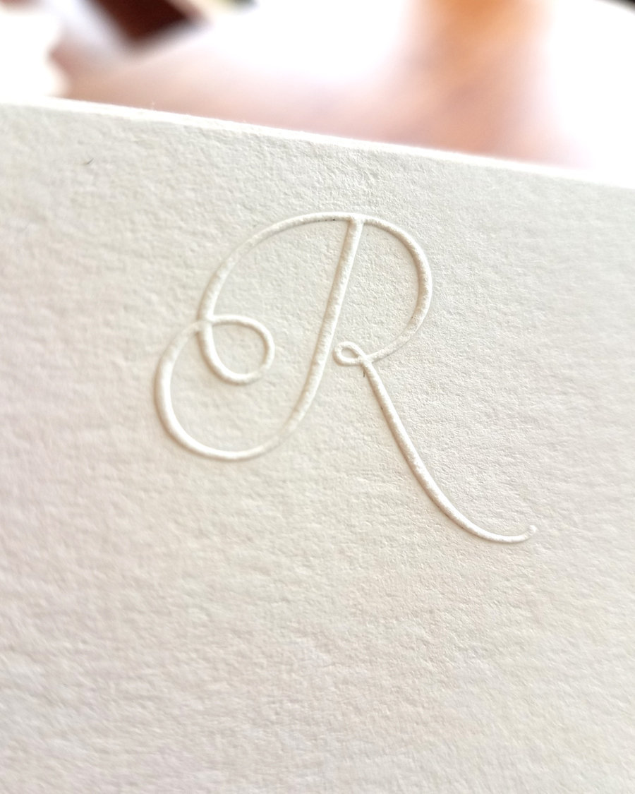Embossed Stationery Script Initial