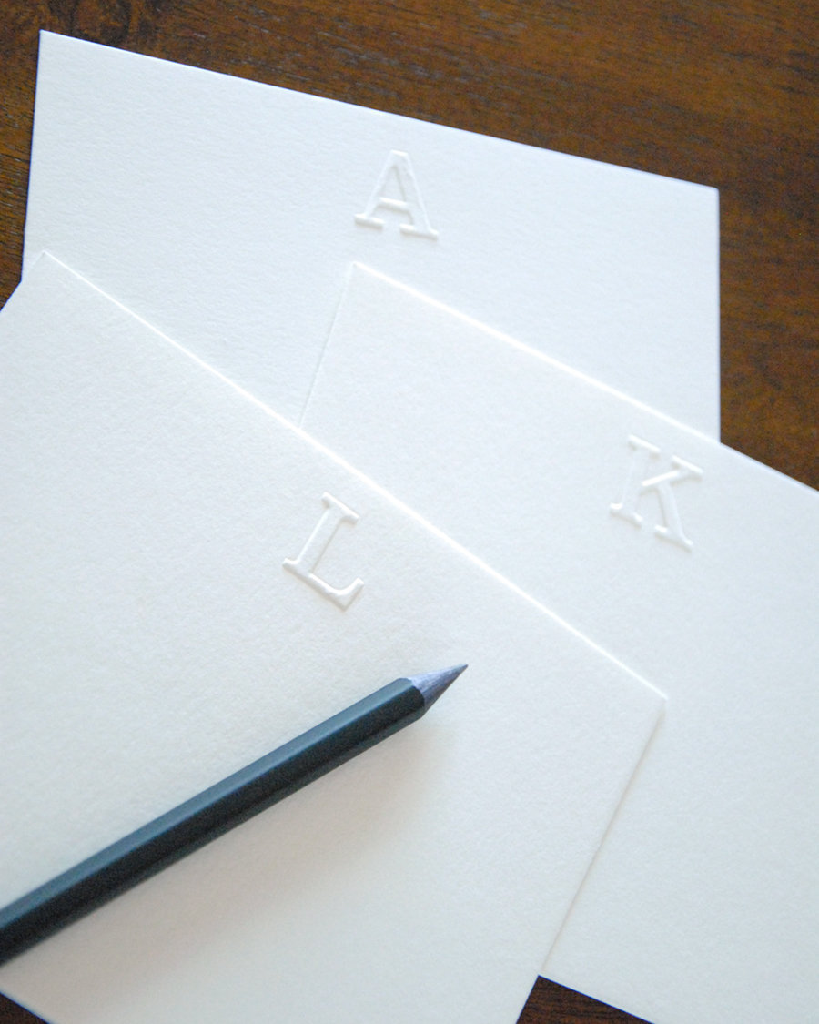 image relating to Embossed Stationery referred to as Embossed Stationery Serif Initially Notecards Mounted of 10